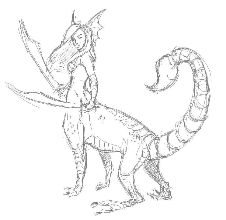 Human Dragon Hybrid Drawing Because Dragon/human/scorpion