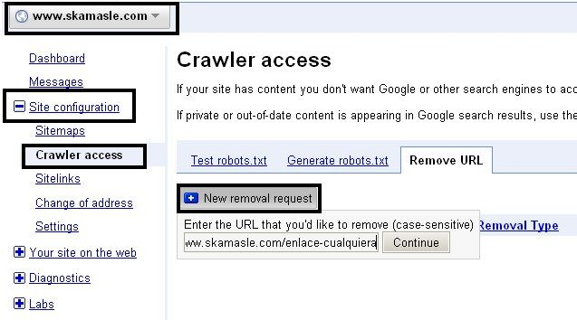 removal url